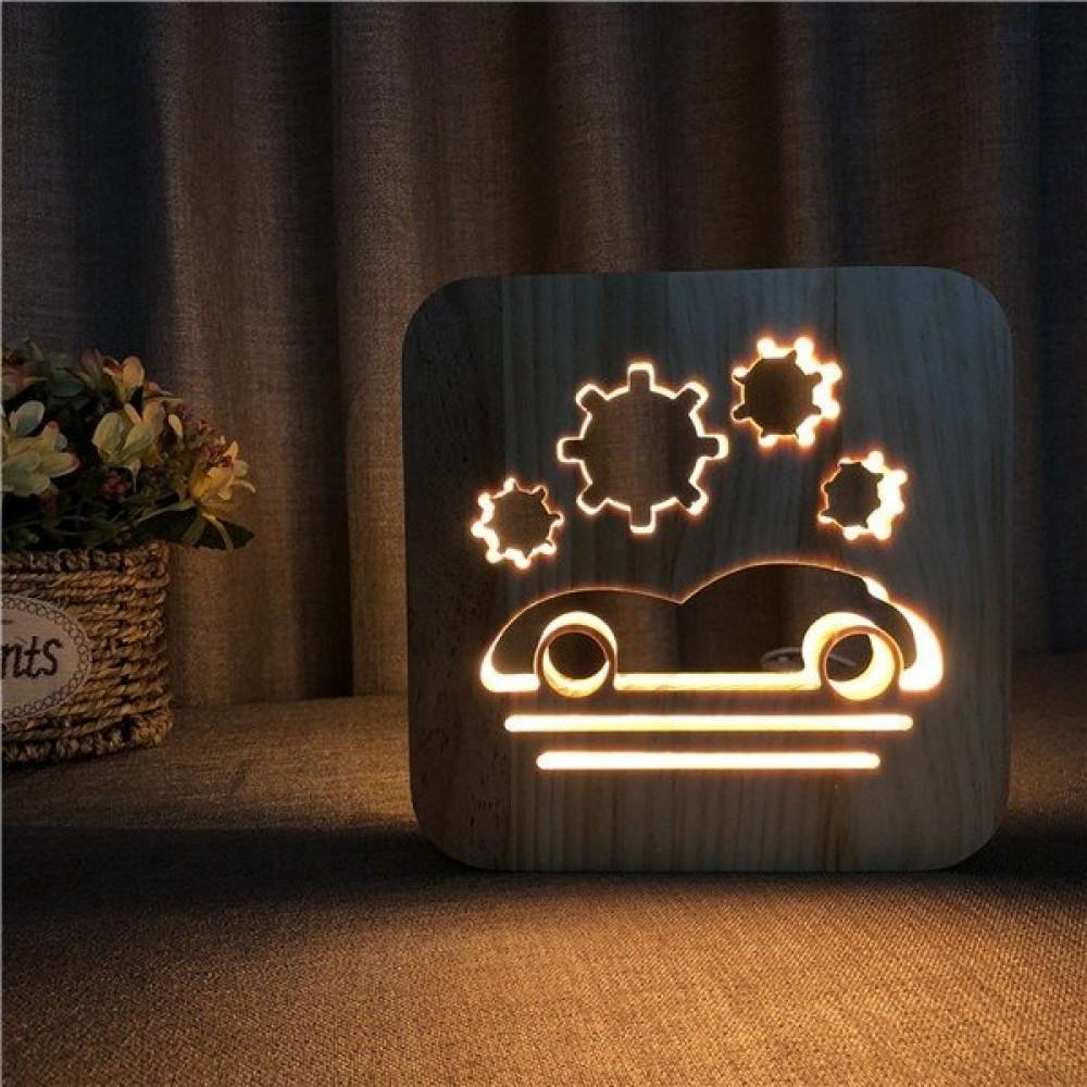 مواسم تحفة فنية مضيئة شكل سيارة مصنوعة من الخشب إضاءة ليد لون خشبي