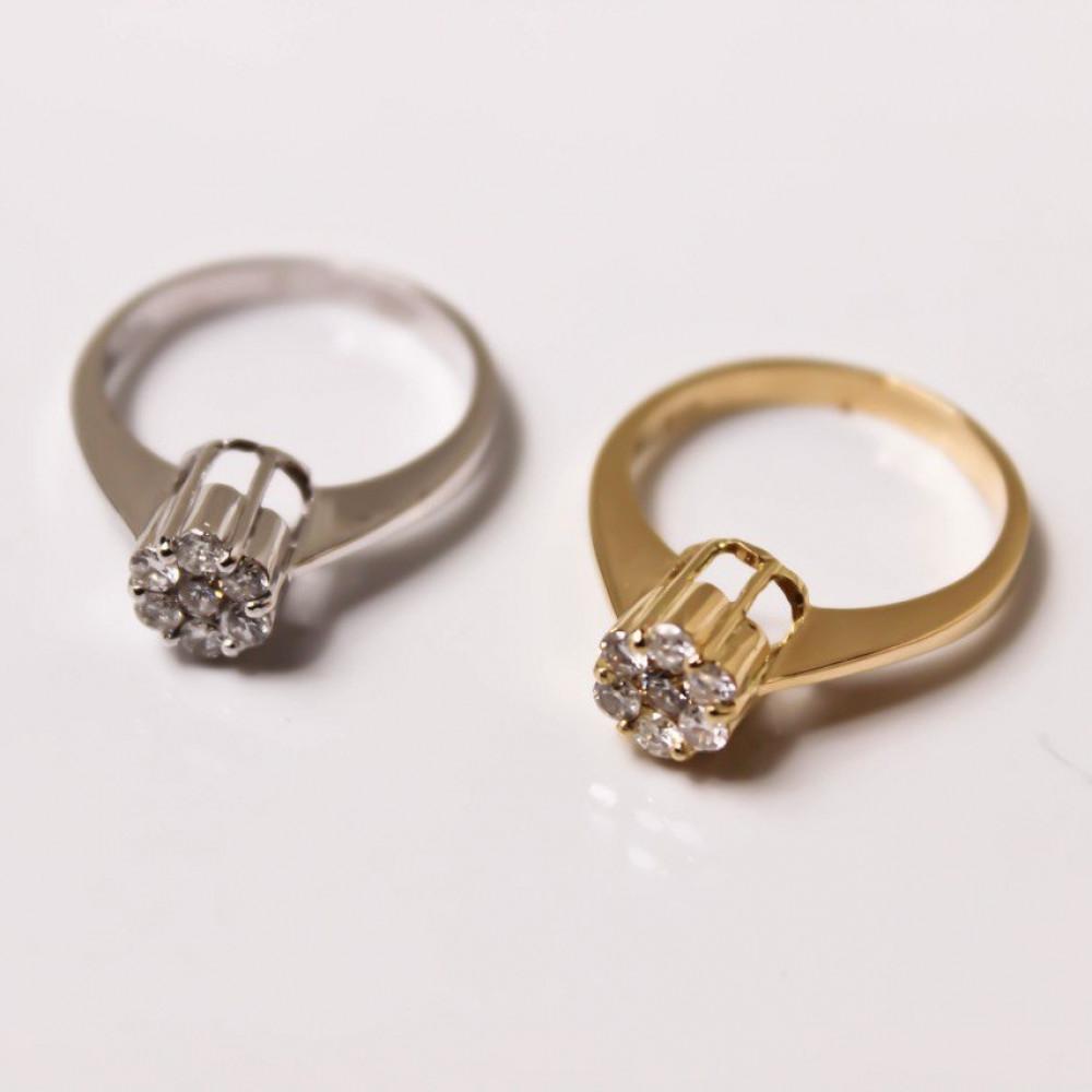 خاتم الماس فلاور ذهبي عيار 18