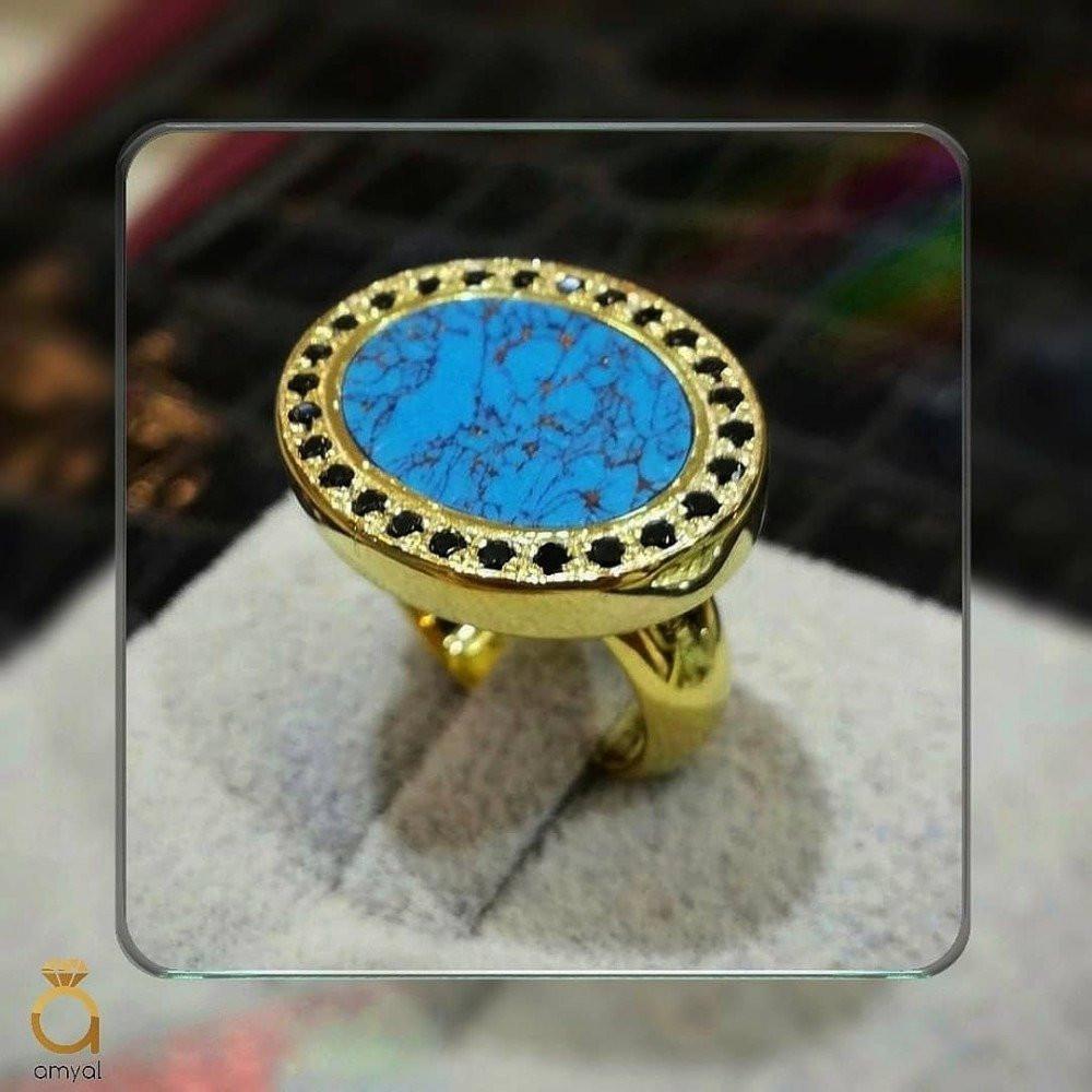 خاتم ملكي راقي مرصع بحجر فيروز
