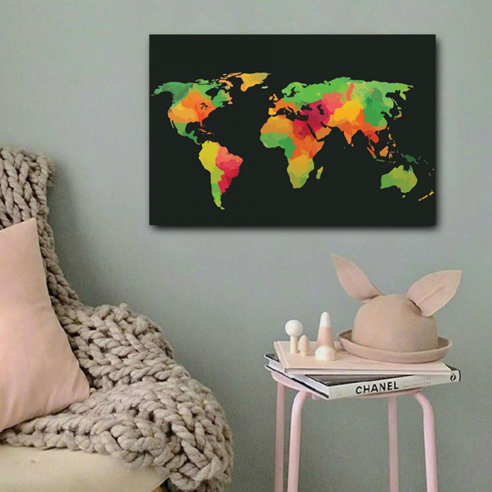 لوحة خريطة العالم ألوان خشب ام دي اف مقاس 40x60 سنتيمتر