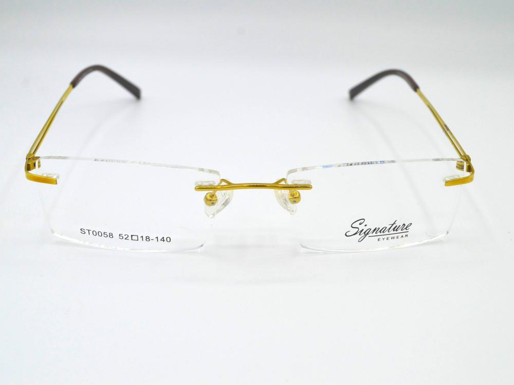 نظارة طبية بدون اطار من ماركة Signature لون الذراع ذهبي