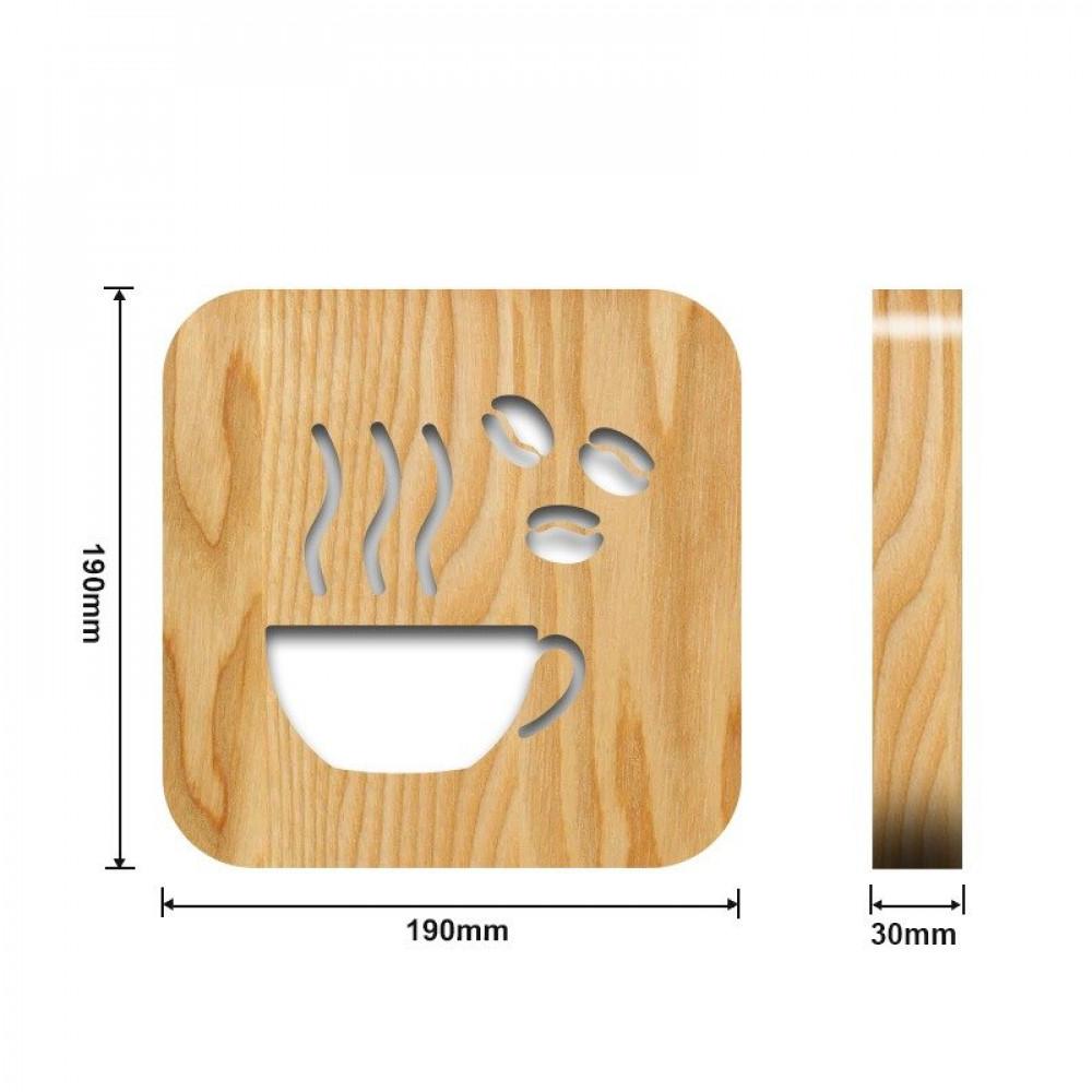 مواسم تحفة فنية على شكل كوب قهوة القياسات التفصيلية للقطعة والقاعدة