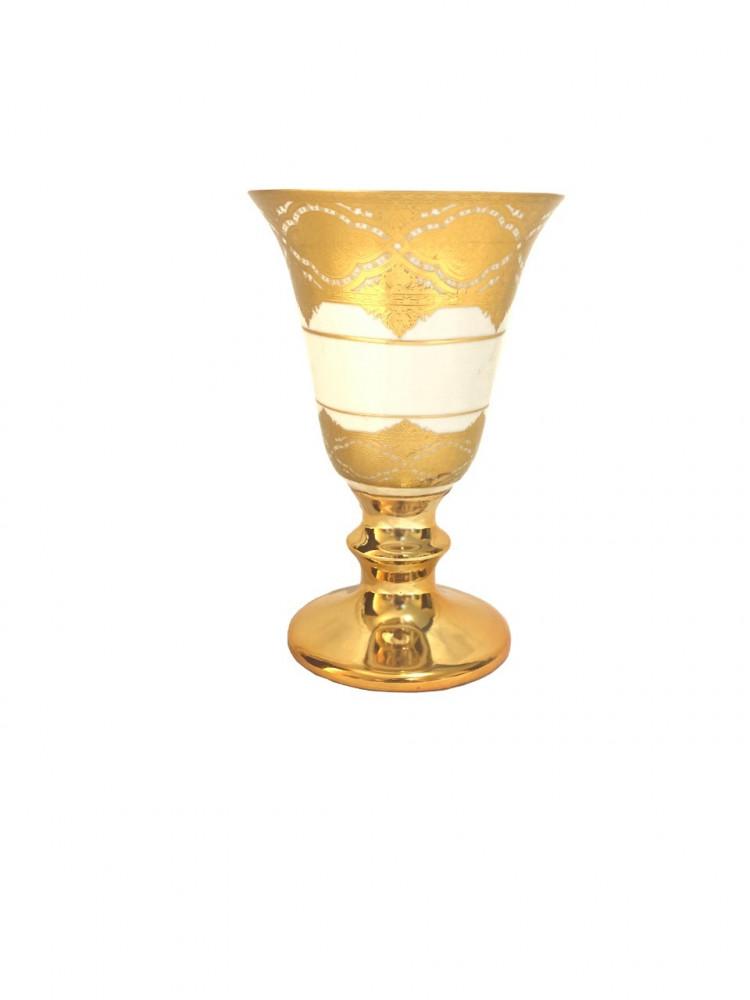 مبخرة من السيراميك الأبيض اللامع بنقوش ذهبية تصميم عصري