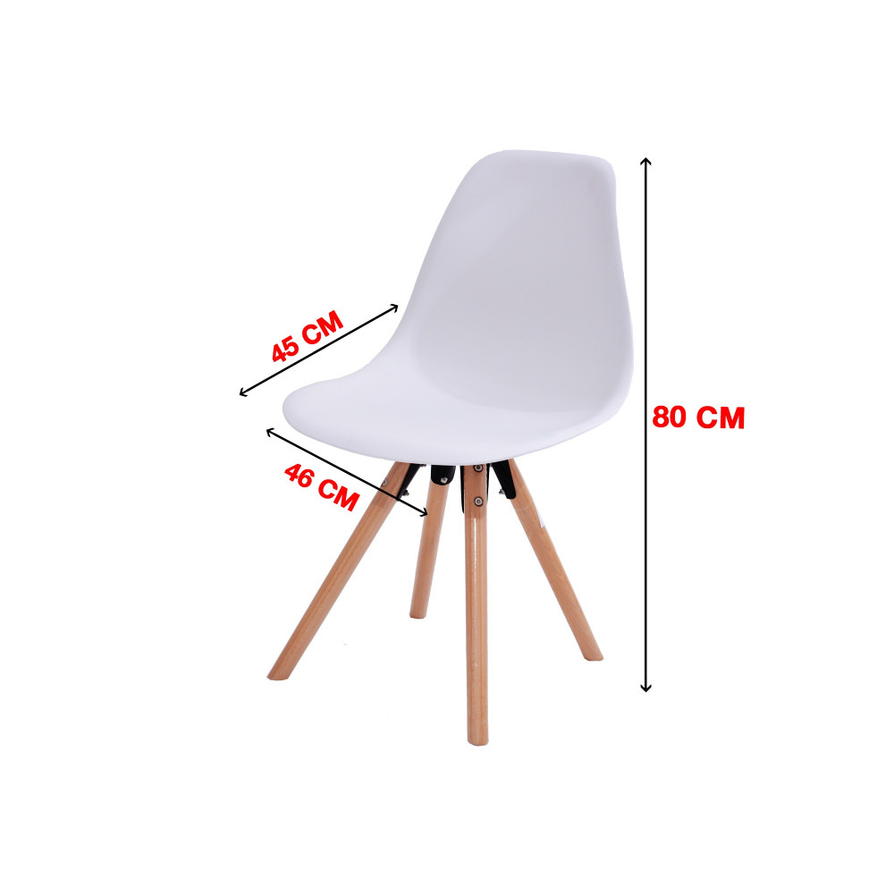 كرسي كاما فيبر ابيض ارجل خشب C-D-811MF-WHITE