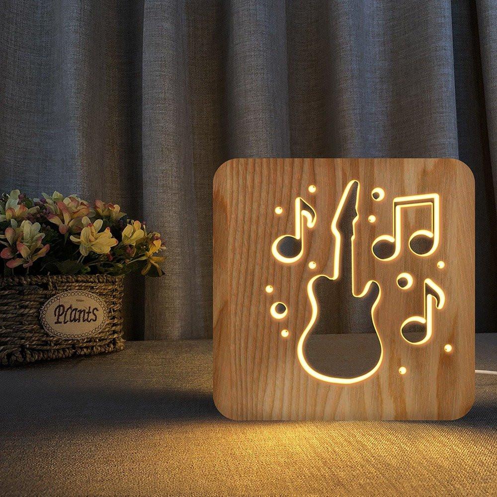مواسم تحفة فنية على شكل جيتار ونغم مصممة باللون الخشبي المميز جدا