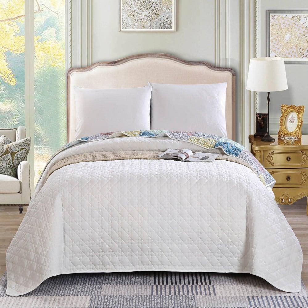 غطاء سرير لون أبيض يجمع بين التصميم الكلاسيكي مقاس نفر