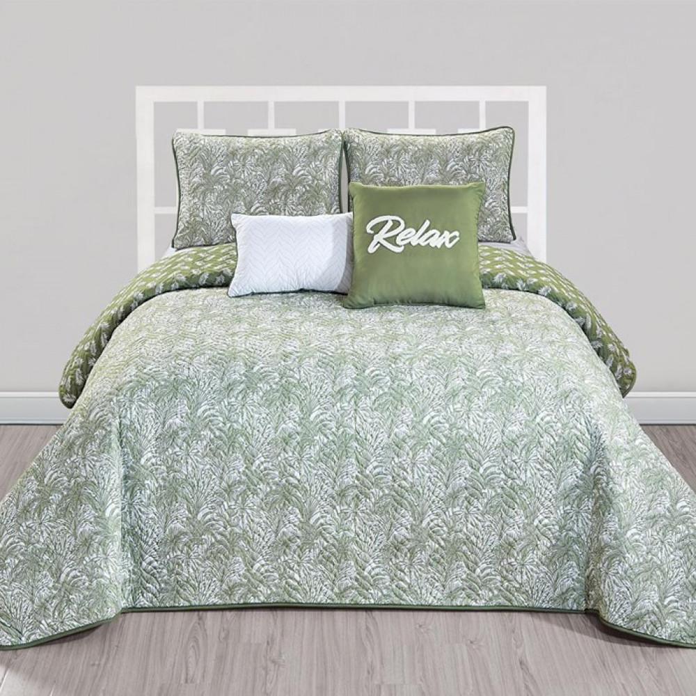 غطاء سرير لون اخضر زيتي بتصميم حديث وألوان عصرية