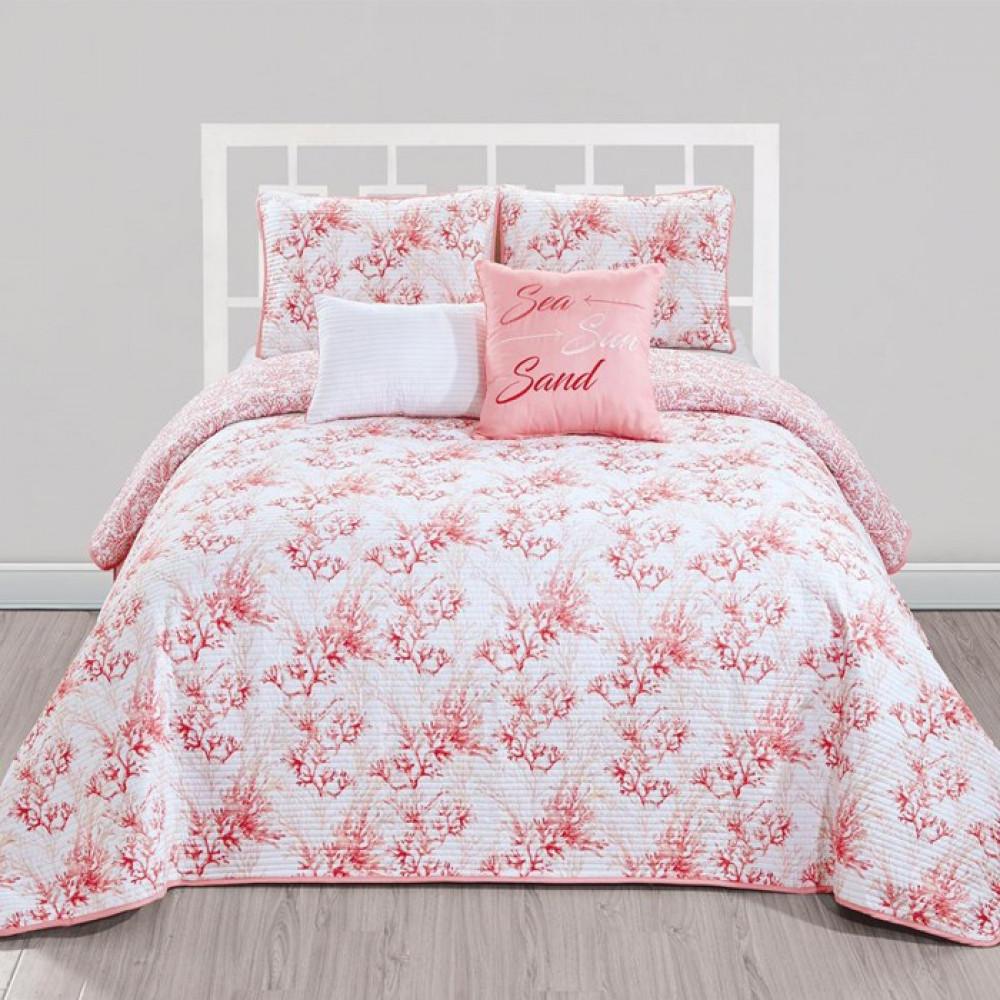 غطاء سرير لون زهري وردي بتصميم حديث وألوان عصرية