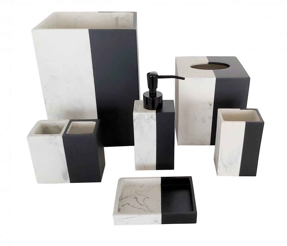 طقم إكسسوار حمام - 6 قطع - أبيض و أسود