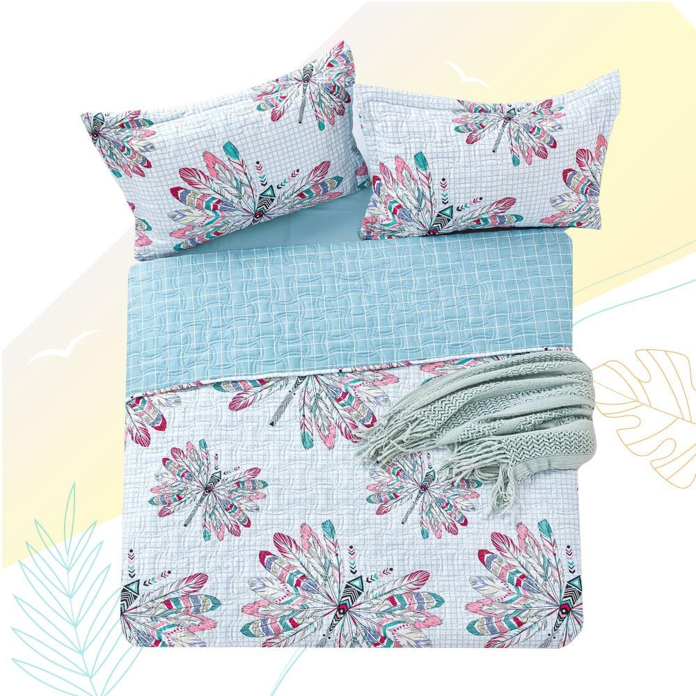 غطاء سرير صيفي Pamela مشجر - مفرد ونص - 3 قطع