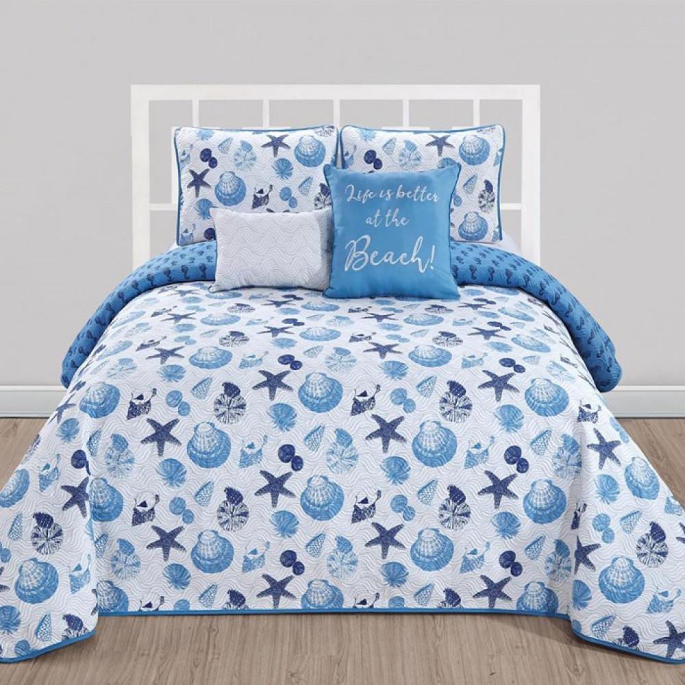 غطاء سرير لون أزرق بتصميم حديث وألوان عصرية