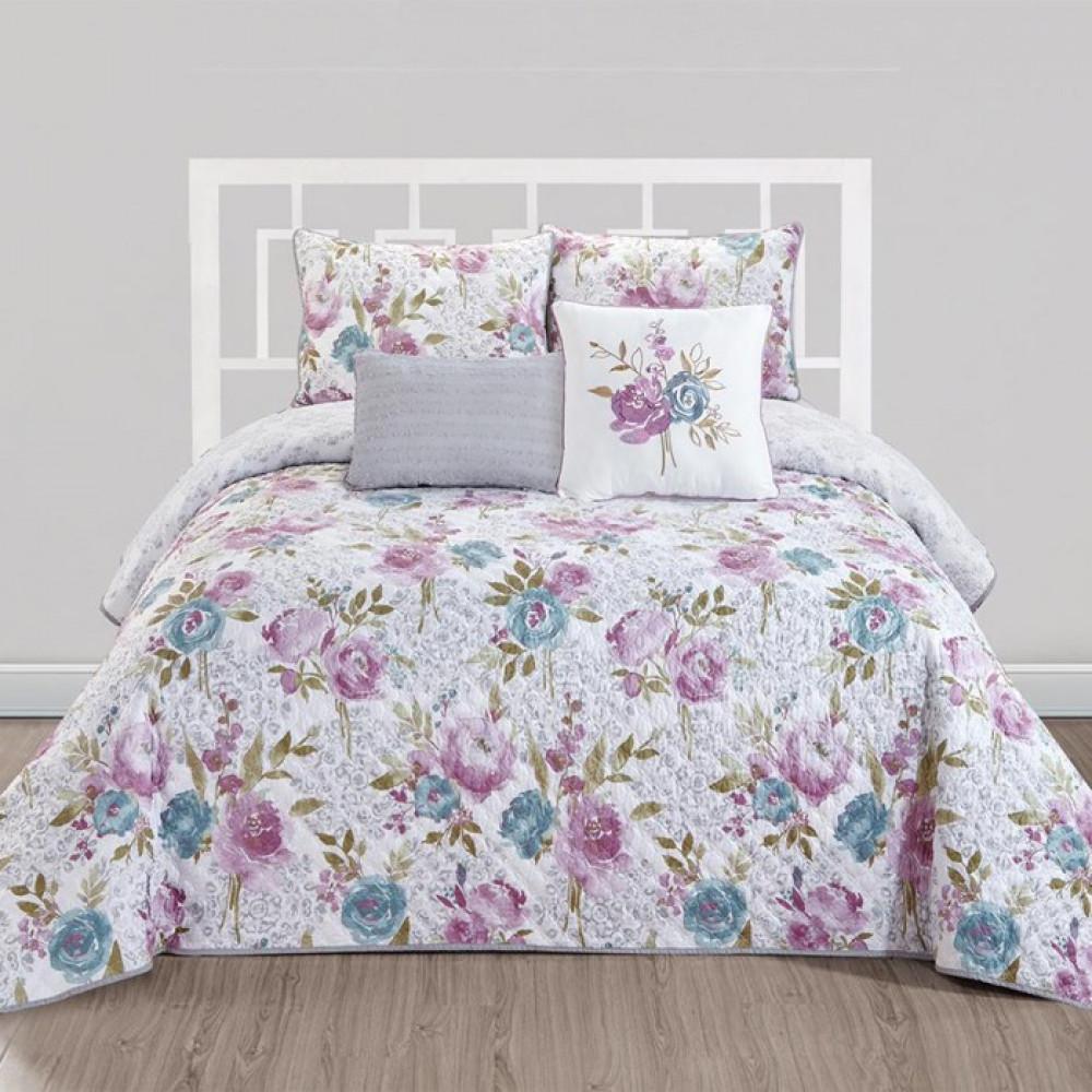 غطاء سرير لون بنفسجي بتصميم حديث وألوان عصرية