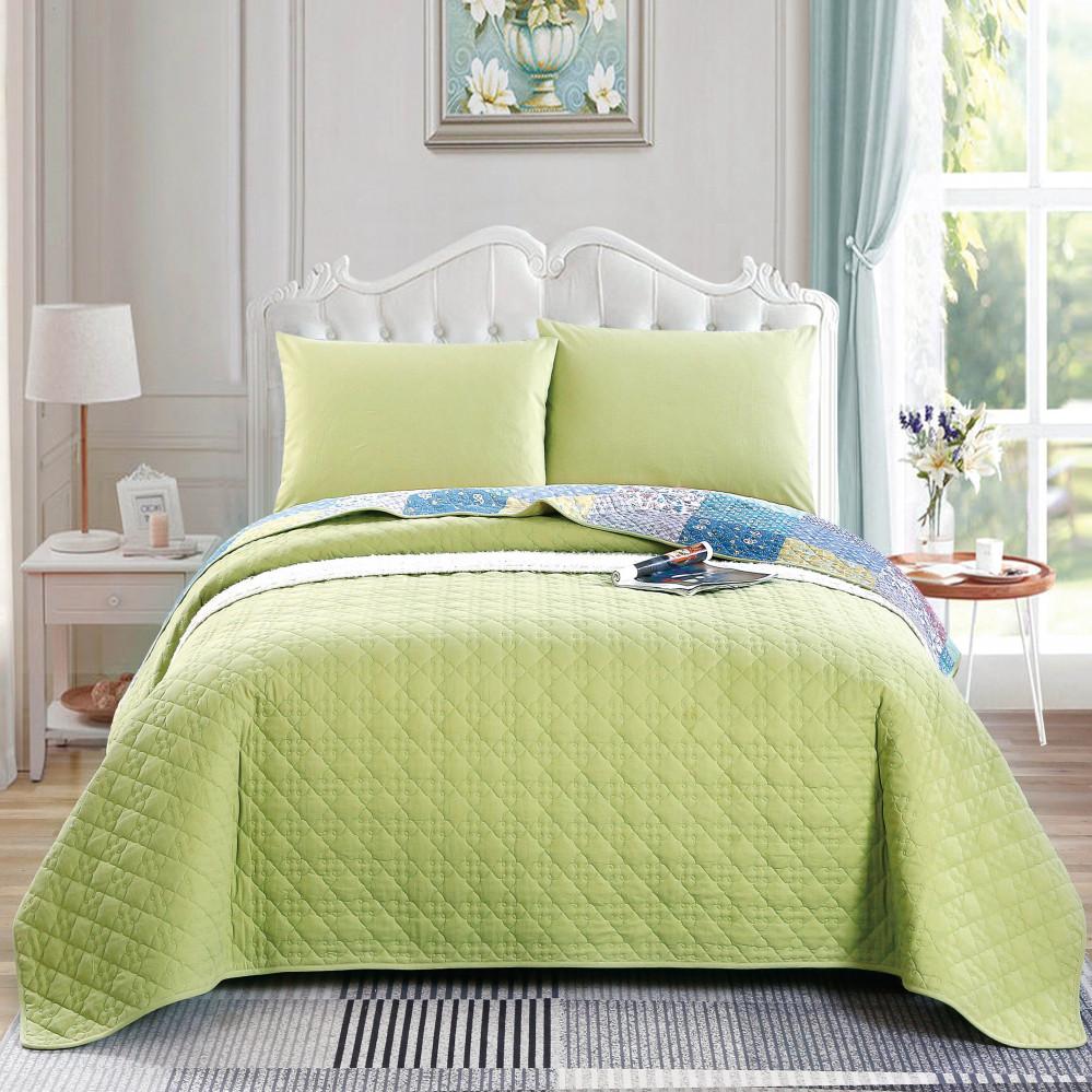 غطاء سرير لون اخضر يجمع بين التصميم الكلاسيكي مقاس نفر
