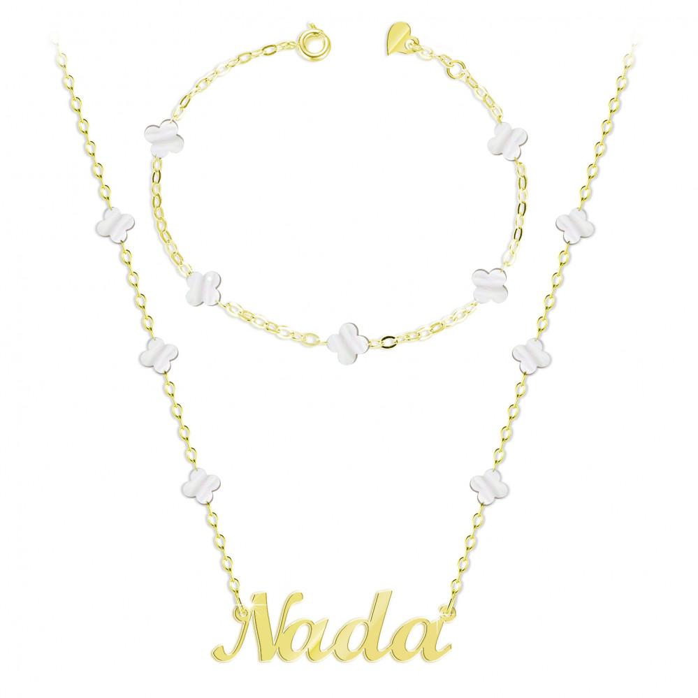 سلسال مع تعليقة اسم ندى مع أسوارة فضة عيار 925 Alturjuman Jewelry