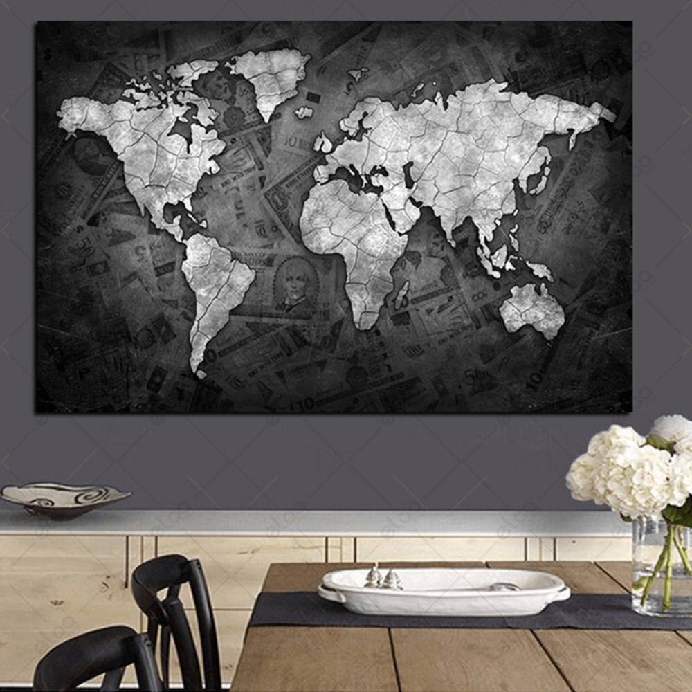 لوحة فنية لخريطة العالم باللون الابيض وخلفية بدرجات الرمادي