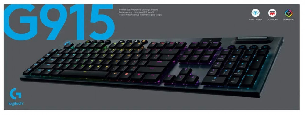 Logitech G915 Wireless RGB Mechanical Gaming Keyboard - Linear switch