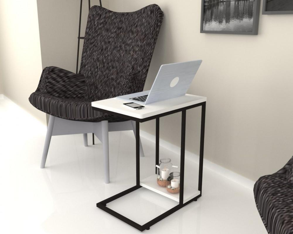 مواسم طاولة بيضاء بأرجل معدنية سوداء يسهل استخدامها في المنزل والمكتب