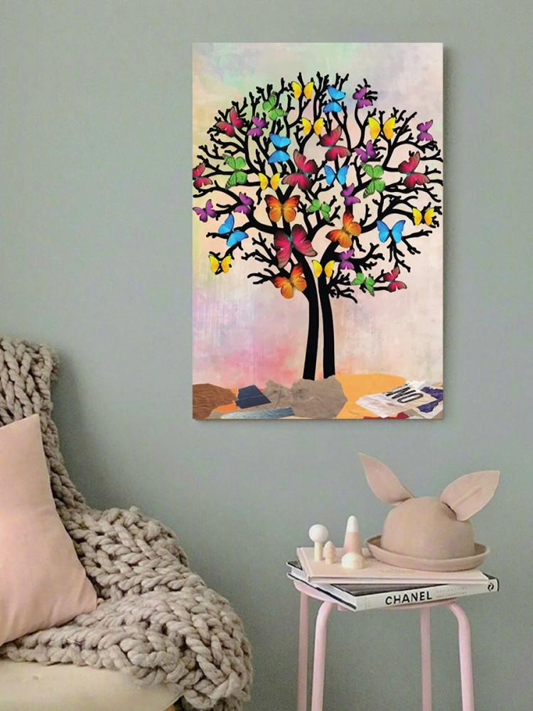 لوحة الفراشات خشب ام دي اف مقاس 40x60 سنتيمتر