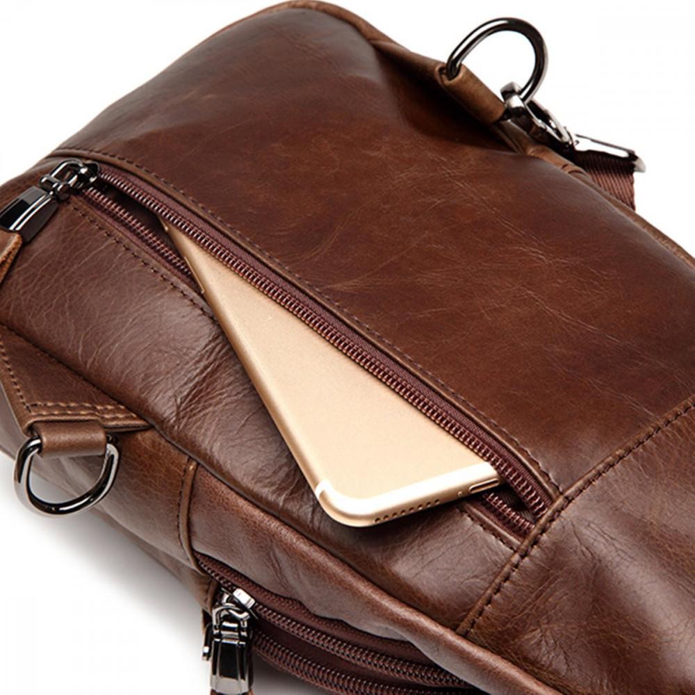 حقيبة كروسبودي جلد طبيعي عارضة للرجال