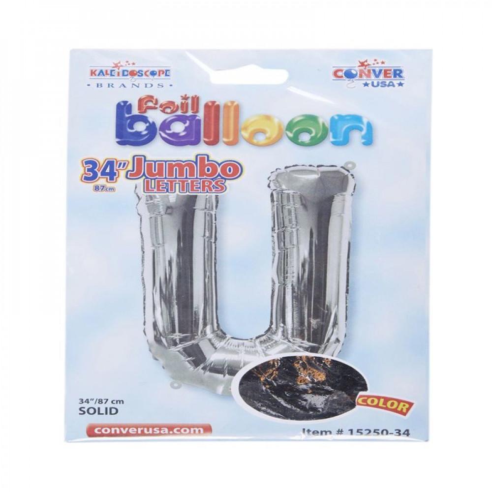 بالون فضي, بالون حرف U, بلونات أشكال, Silver Balloon