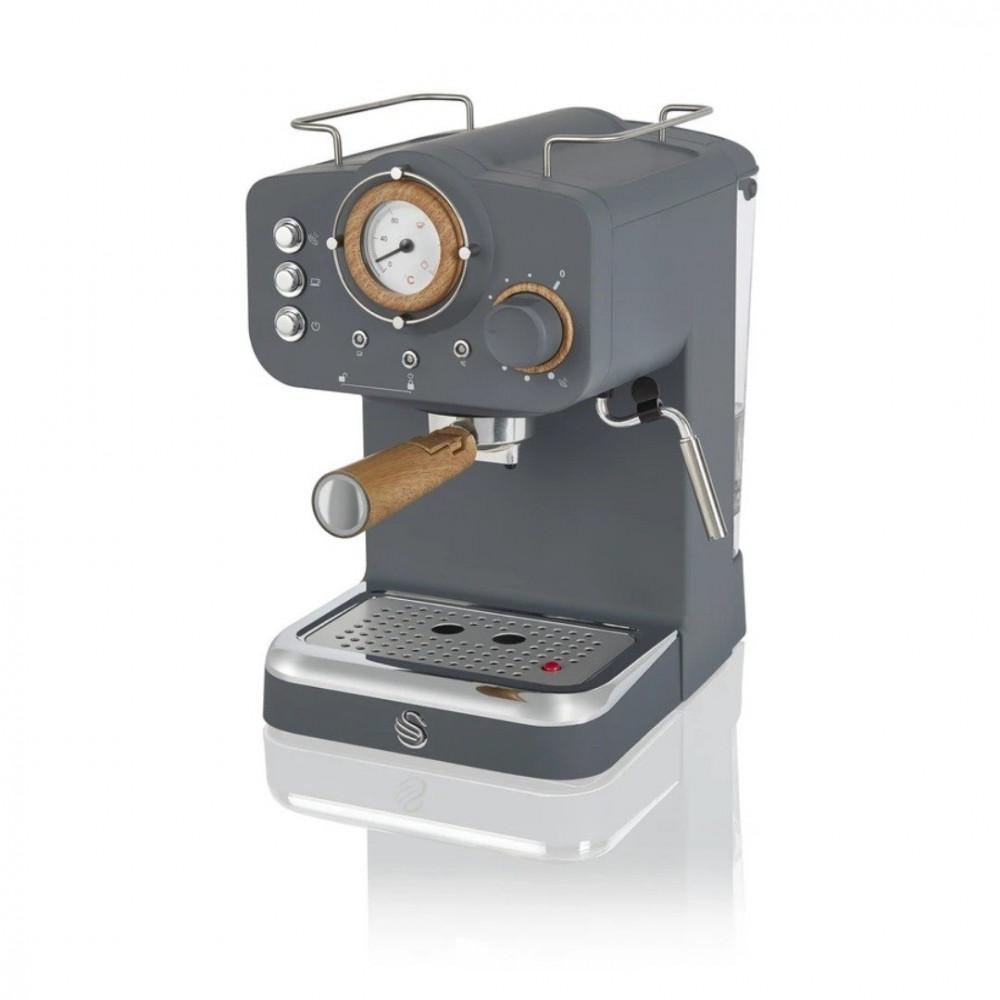 ماكينة قهوة مع تبخير الحليب ماركة سوان بلون رمادي