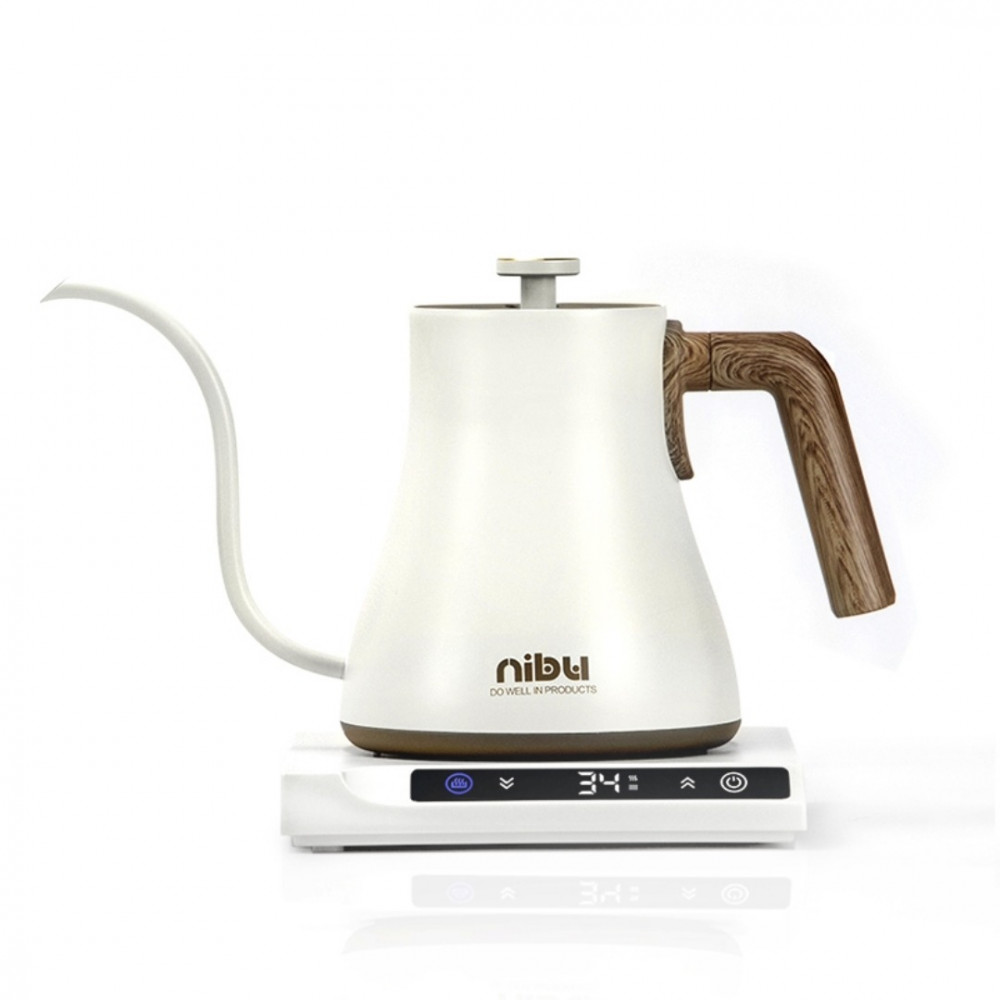 غلاية كهربائية للقهوة المقطرة لون ابيض تحكم وتثبيت الحرارة وشاشة عرض