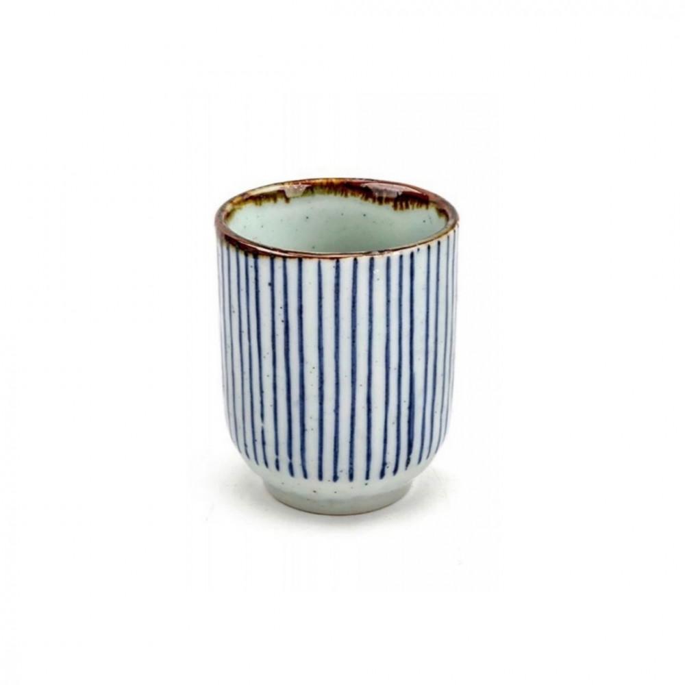 كوب قهوة رخامي لون ابيض بخطوط زرقاء تصميم ياباني