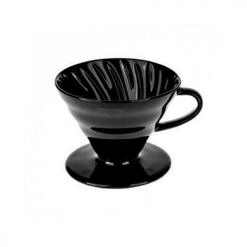 قمع تقطير القهوة V60 سيراميك لون اسود