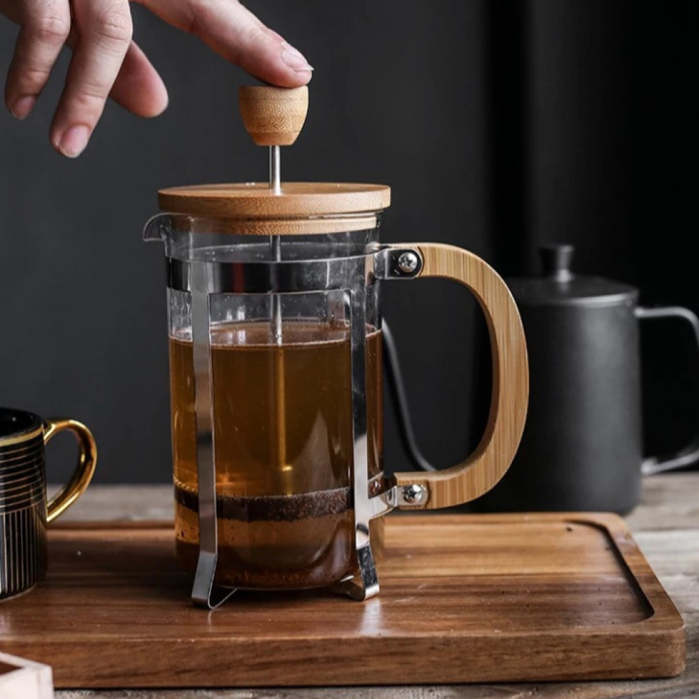 فرنش برس لاعداد القهوة مقبض وغطاء من الخشب سعة 600 مل