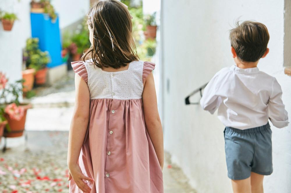 فستان بفيونكة عند الصدر باللون الزهري من ماركة babidu من دوها