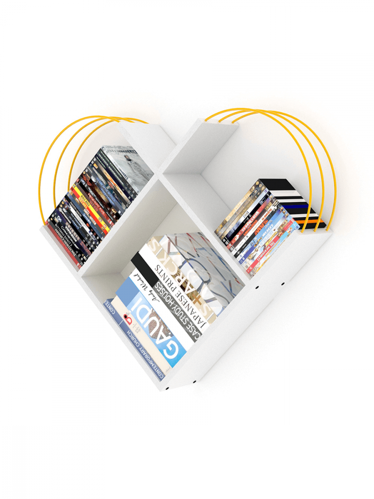أفخم مكتبات الكتب خزانة كتب صغيرة لون أبيض بقضبان صفراء شكل عصري أنيق