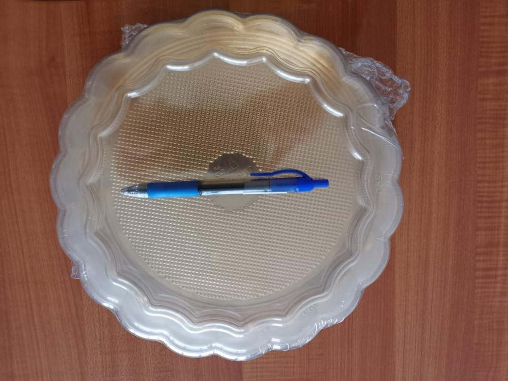 صحن كيك ذهبي دائري مقاس 28 سم مع غطاء شفاف 4 حبات