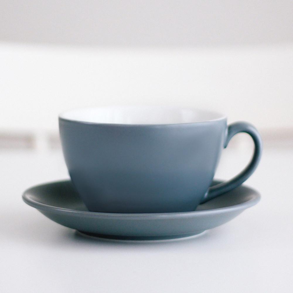 كوب سيراميك لاتيه مع صحن أكواب خزف قهوة رمادي هدية هدايا ركن القهوة