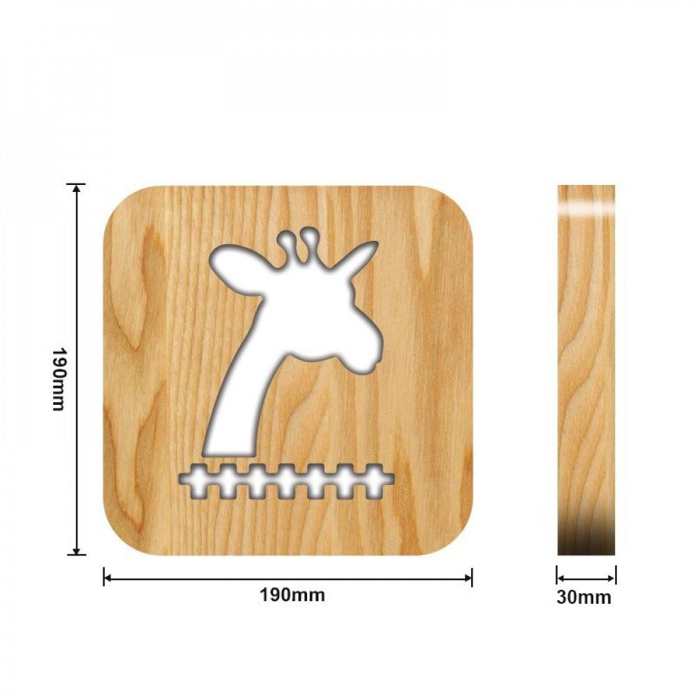 من متجر مواسم تحفة فنية خشبية على شكل زرافة القياسات التفصيلية للتحفة