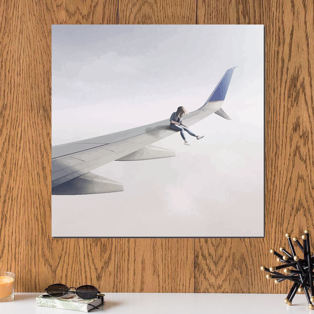 لوحة جناح طائرة خشب ام دي اف مقاس 30x30 سنتيمتر