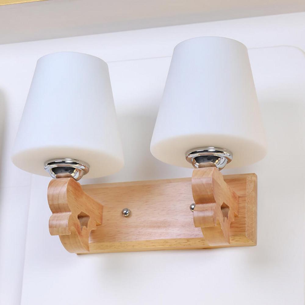 اضاءة جدران داخلية خشبية مجوز مع زجاج مثلج - فانوس