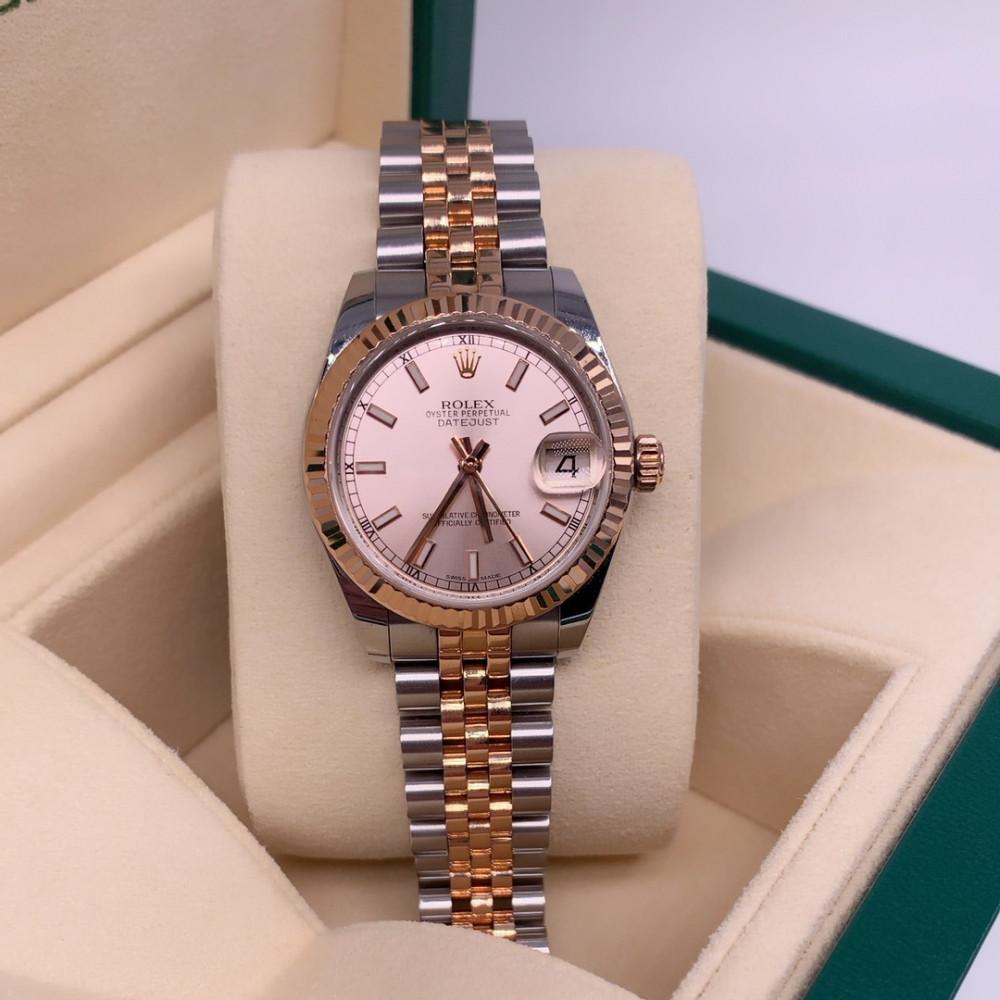 ساعة rolex ديت جست النسائية الثمينة مستعملة