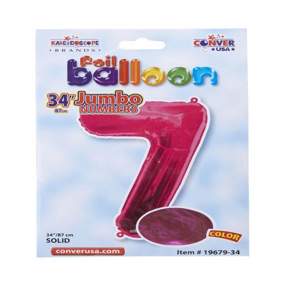 بالون وردي, بالون رقم 7, بلونات أرقام زهرية, Pink Balloon