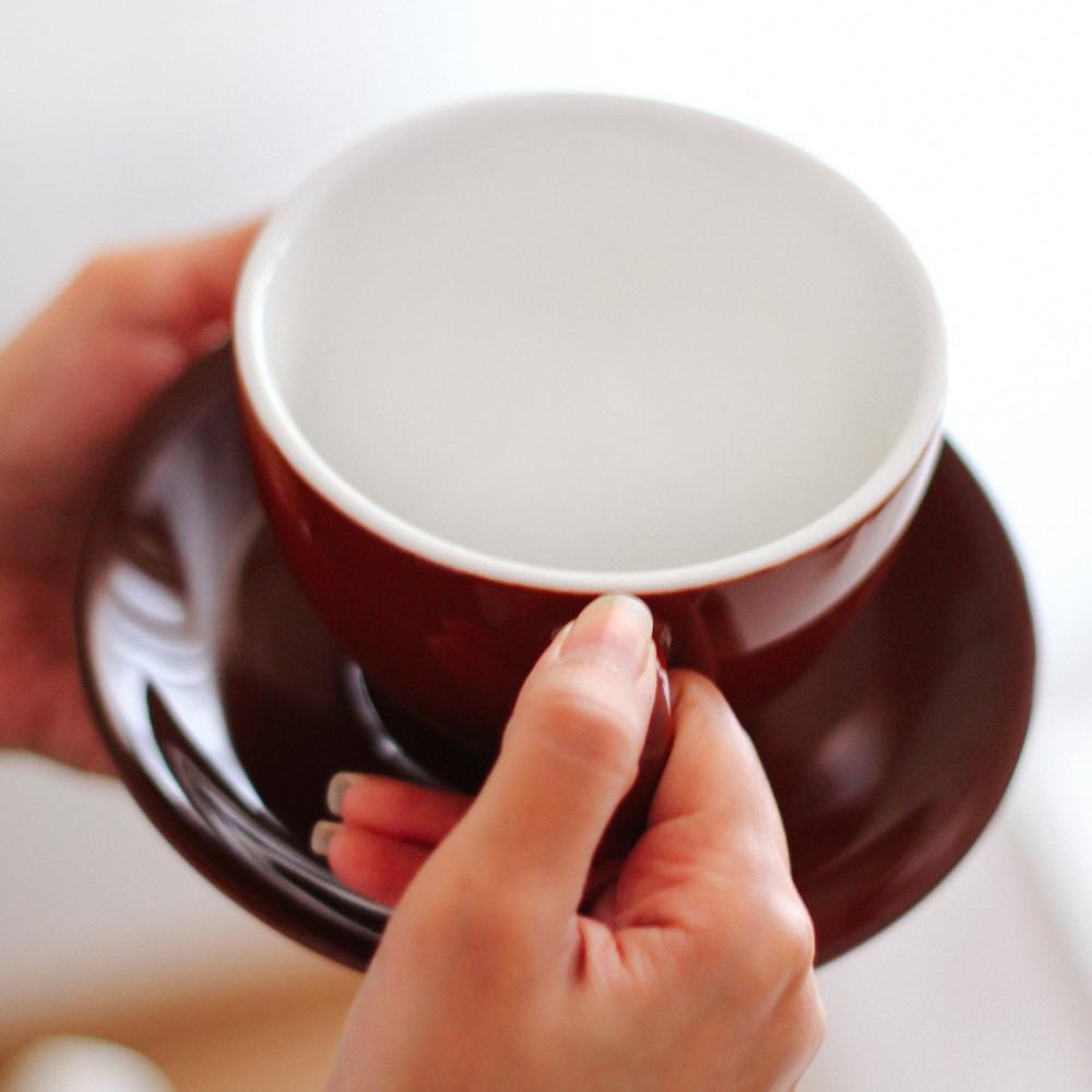 كوب سيراميك لاتيه مع صحن أكواب خزف قهوة عنابي هدية هدايا ركن القهوة