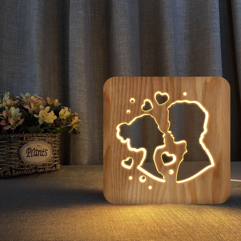 مواسم تحفة فنية أنيقة شكل زوجين بتصميم ثلاثي الأبعاد لون خشبي