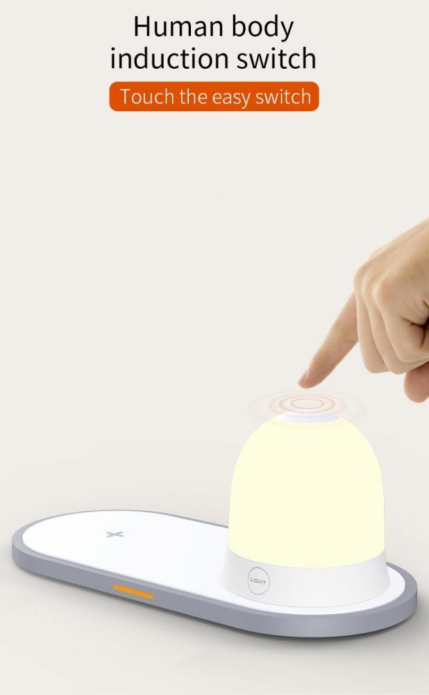 مصباح طاولة مع شاحن لاسلكي بقوة 10 واط