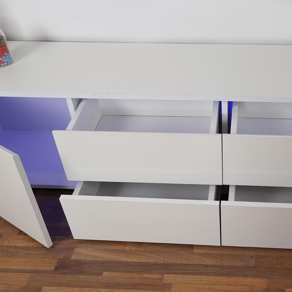 صورة قريبة لأدراج طاولة تلفاز خشبية بخزانات عدد 6 بيضاء ليد من يوتريد
