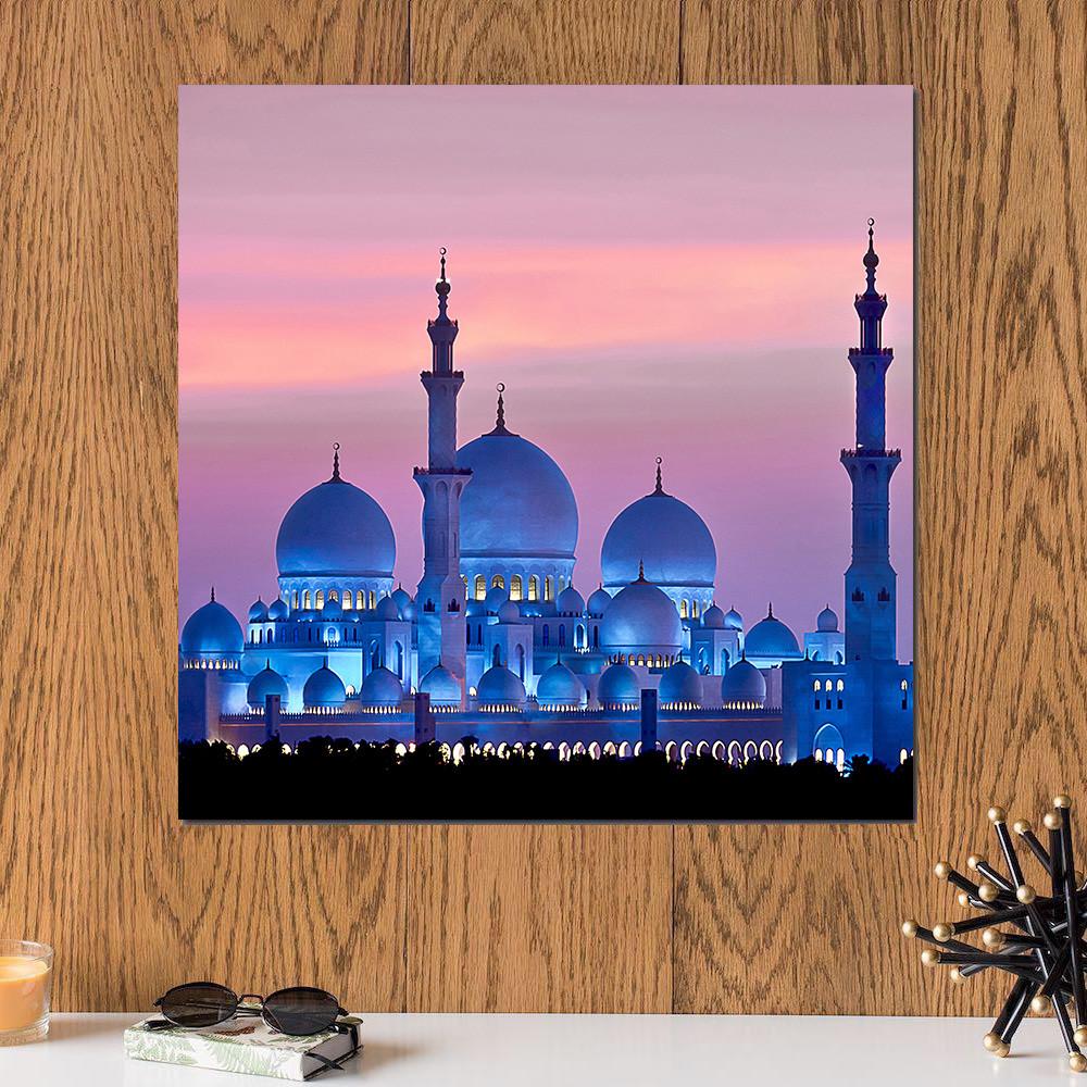 لوحة مسجد الشيخ زايد خشب ام دي اف مقاس 30x30 سنتيمتر