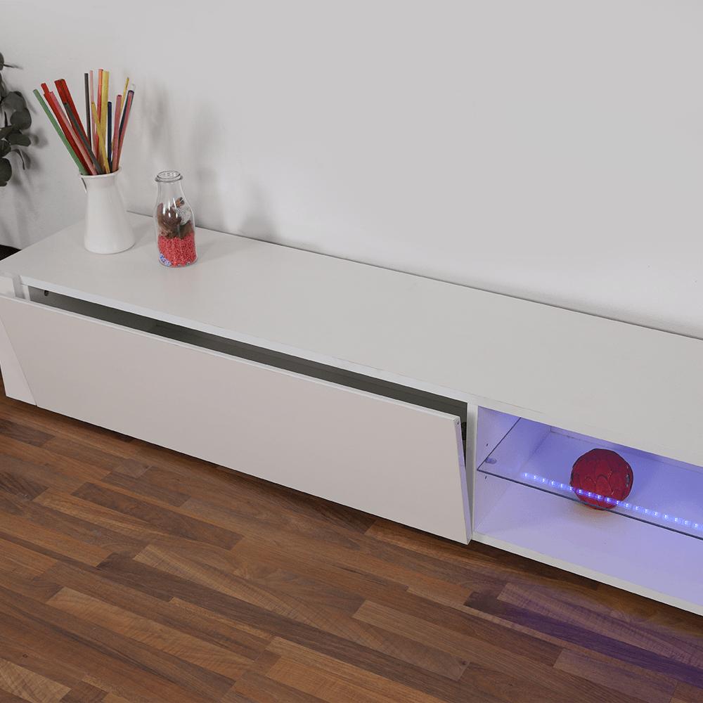 طاولة تلفاز خشبية برف زجاجي مناسبة لجميع مقاسات الشاشات LCD ليد يوتريد