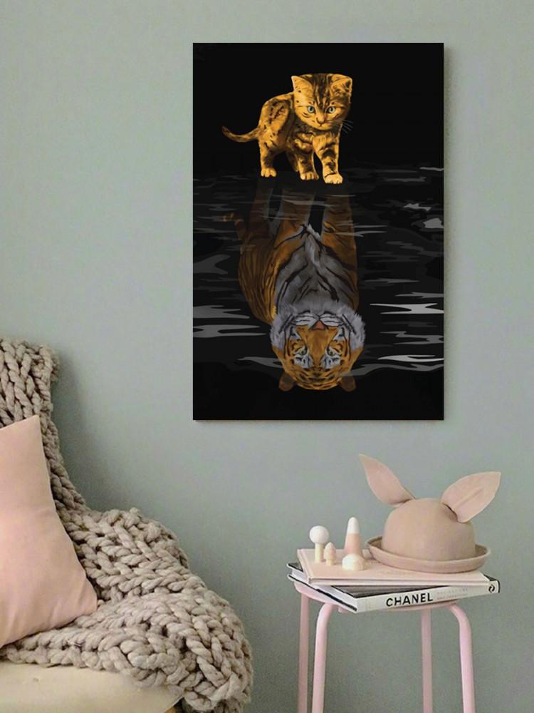 لوحة القطة و النمر خشب ام دي اف مقاس 40x60 سنتيمتر