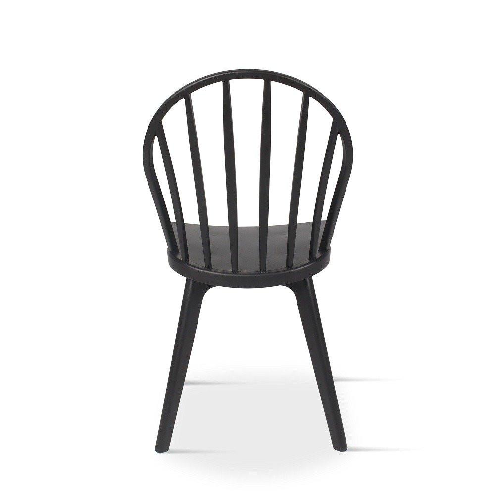 زاوية خلفية لرؤية الكرسي من متجر مواسم من طقم كراسي أسود من البلاستيك