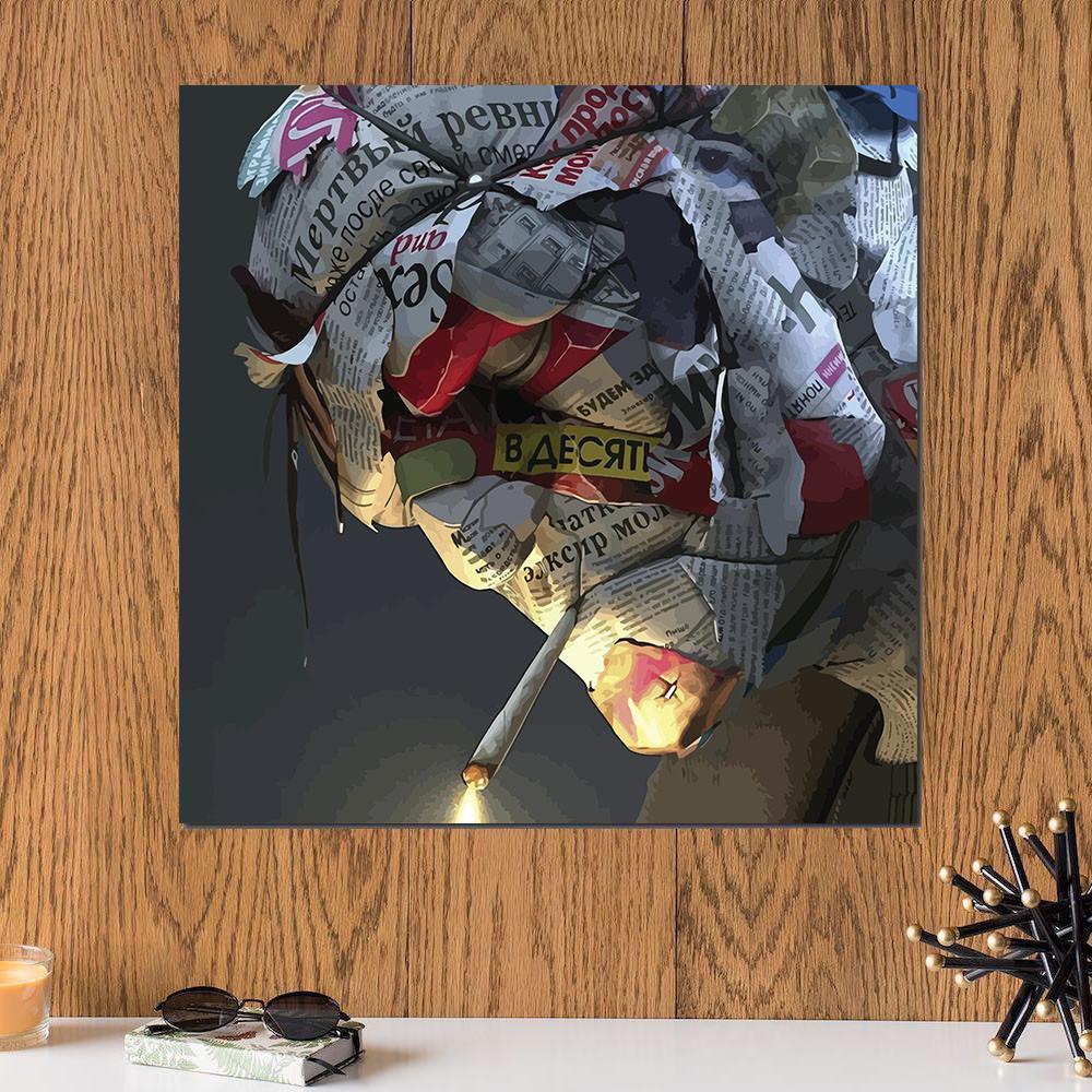 لوحة الجريدة خشب ام دي اف مقاس 30x30 سنتيمتر