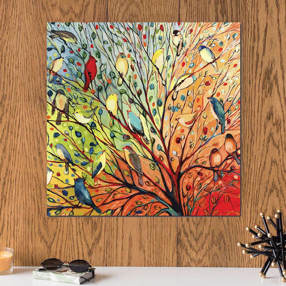 لوحة ديجيتال ارت , طيور خشب ام دي اف مقاس 30x30 سنتيمتر
