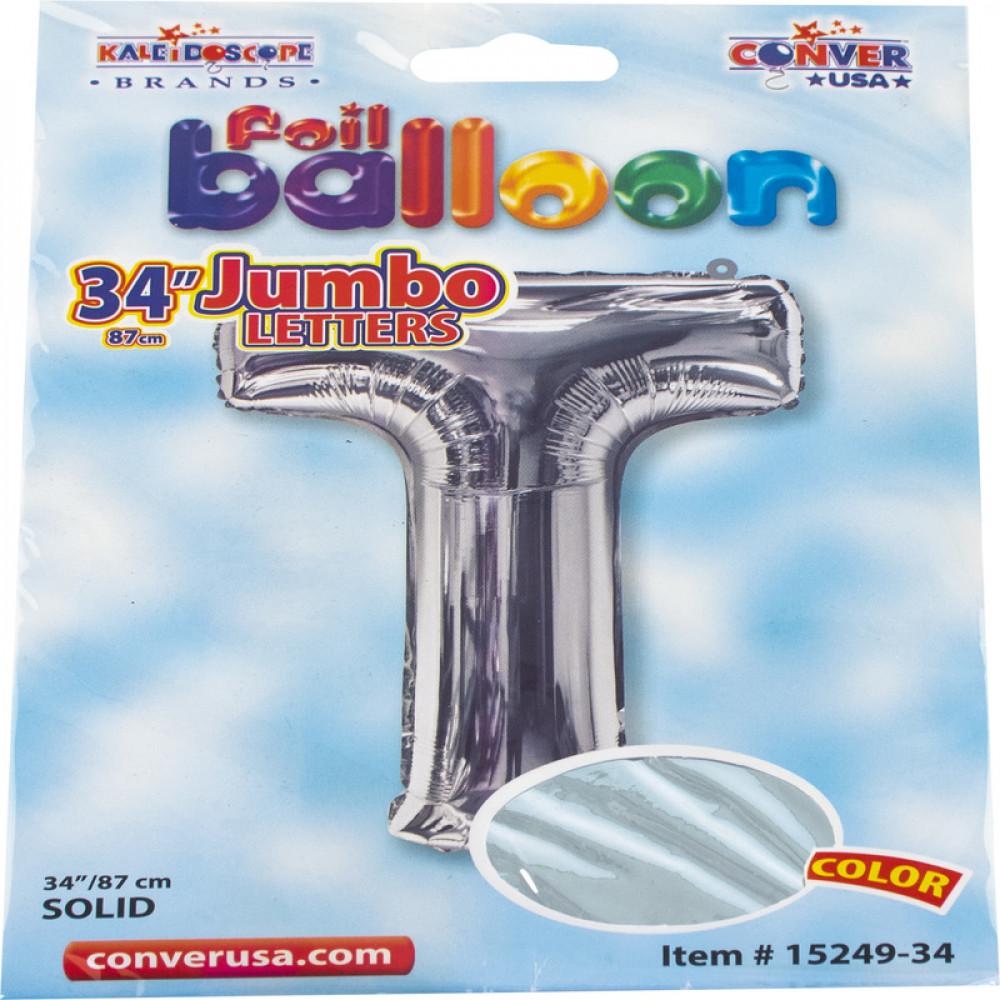 بالون فضي, بالون حرف T, بلونات أشكال, Silver Balloon