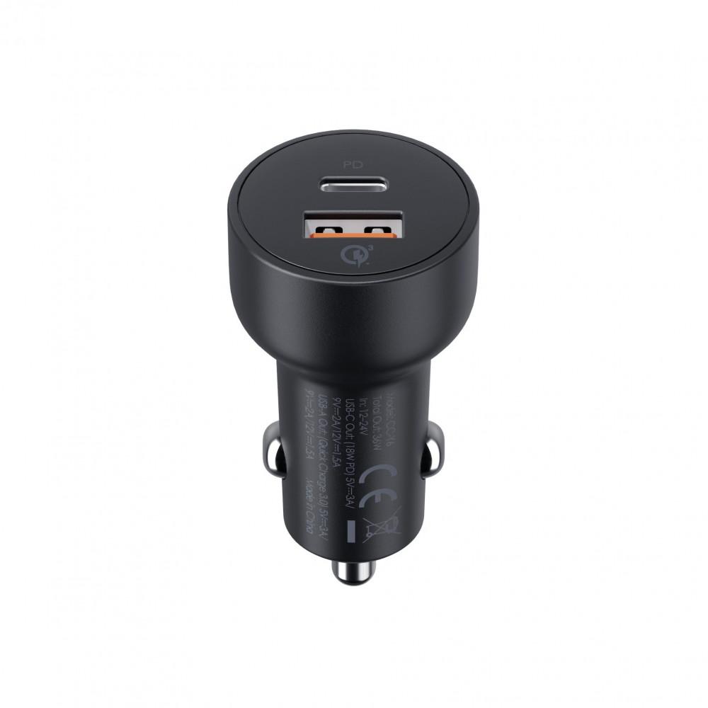 أوكي شاحن سيارة USB-C - لون أسود